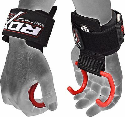 RDX Weight Lifting Training Gym Hook Grips Straps Gloves Wrist Support Crossfit