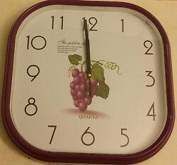 Plastic Wall DEcorative Clock, 10, GRAPES with Purple rim