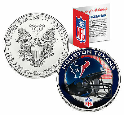 HOUSTON TEXANS 1 Oz .999 Fine Silver American Eagle $1 US Coin NFL LICENSED