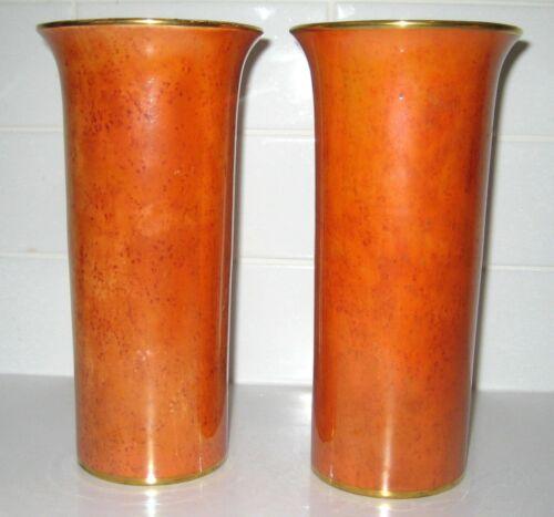 Carlton Ware pair of 8 inch Armand Lustre Vases with Mottled Orange Luster Glaze