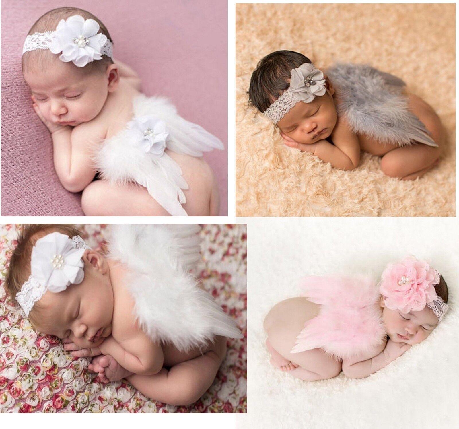 Baby Engel Flügel  Spitze Stirnband Fotoshooting Newborn Neugeborenen Fotografie