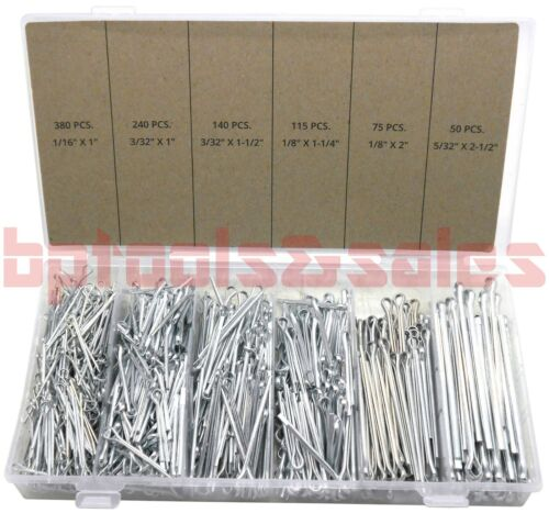 1000pc Cotter Pin Assortment Set 6 Sizes Grab Split Fixings Securing Lock Pins