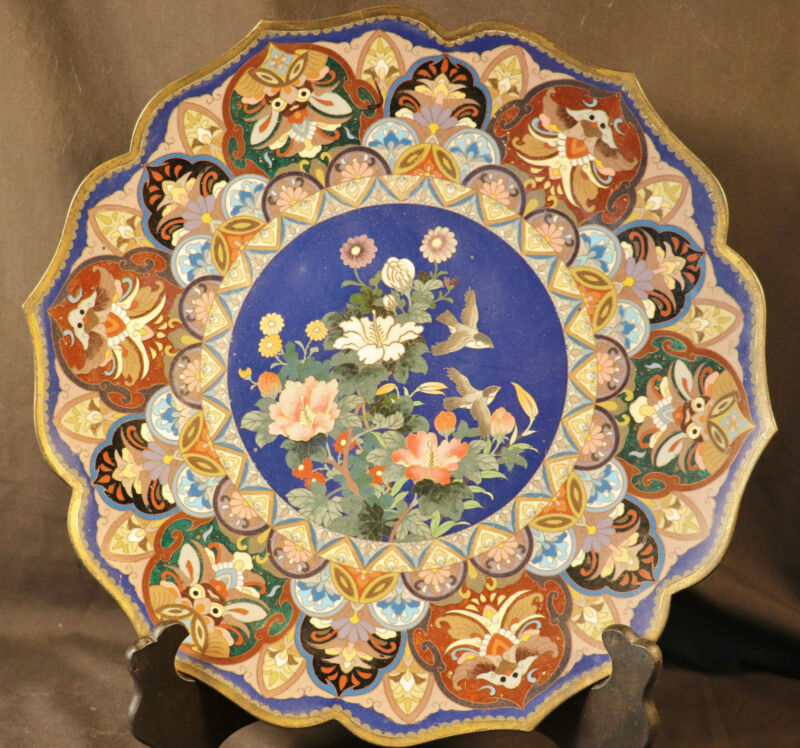 "X-Large 14""D Japanese Meiji Cloisonne Charger Lobbed Petals Peony Flowers Birds"