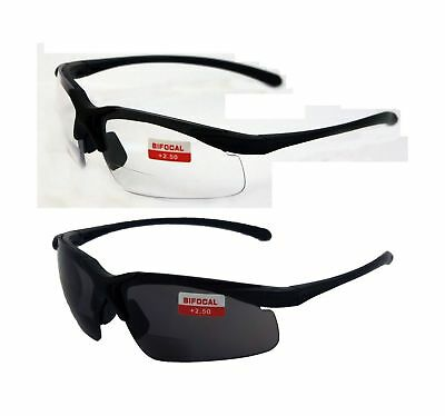 Z87 2.5 Bifocal Safety Glasses Clear Smoke Lens Readers Global Vision 2 Apex