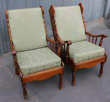 Set of 2 High Back Armchairs (1073) LOCATED AT GRANGE Thebarton West Torrens Area Preview