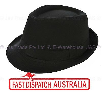 Ganster Hats (FEDORA TRILBY WEDDING GANSTER DANCE COSTUME HAT kid to Adults XXS XS S M L)