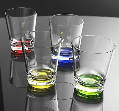 16 Oz Plastic Tumblers (QG 16 oz Clear w/ Color Base Acrylic Plastic Cup Drinking Glass Tumbler Set of)