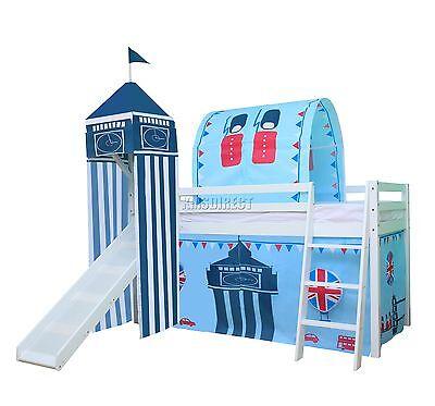 FoxHunter Wooden Mid Sleeper Cabin Bunk Bed Kids Tent Single 3FT Castle Slide