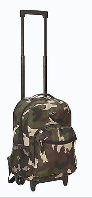 Camo Rolling Backpack (Backpack Bag School Boys Camo Rolling Luggage Travel Military Design Print)