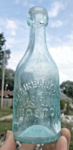 NICE AQUA LONG NECK BLOB SODA M. FAIRBANKS & CO. BOSTON, MA 1870