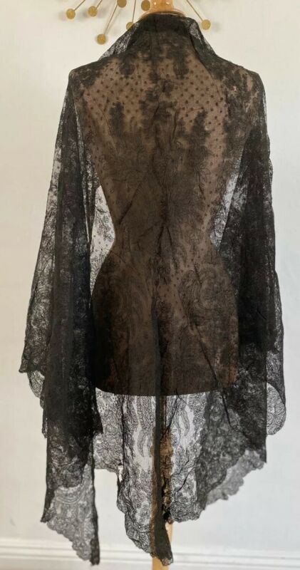 Antique Civil War Era Handmade Lace 1800s Victorian Shawl Scarf Stole