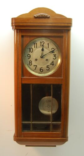Vintage Wind Up Chime Pendulum Wood Wall Clock, Beveled Glass Door, Key, 30 Tall