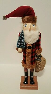 "Santa Claus Nutcracker Plaid Red Black Wooden 15"" Christmas Holiday Decor NEW"