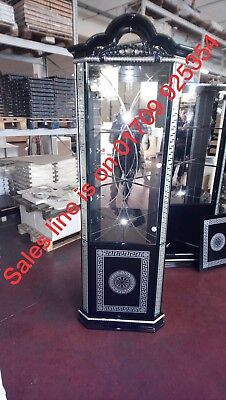 VERSACE DESIGN BLACK & SILVER ITALIAN HIGH GLOSS 1 DOOR CORNER/DISPLAY UNIT