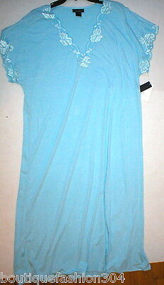 NWT New Designer Natori Night Gown Long Womens Light Blue XXL Lace Detail Flower