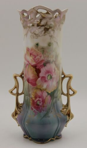 ANTIQUE RS PRUSSIA  HAND PAINTED FLOWERS VASE