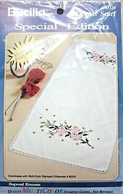 Scarf Embroidery Kit (VTG - BUCILLA DRESSER SCARF EMBROIDERY KIT - DOGWOOD BLOSSOMS #63320)