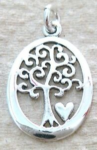 925 STERLING SILVER FILIGREE OXIDISED KEY PENDANT OVAL TREE OF LIFE &HEART CHARM