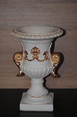 Barock Vase Schale  Blumenvasen Landhaus Rund  Patina Gold W29