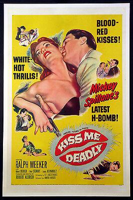 KISS ME DEADLY RALPH MEEKER MIKE HAMMER FILM NOIR 1955 1-SHEET LINENBACKED