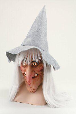 Halloween Adulto Bruja Máscara con Sombrero y Cabello Gris Terror Carnaval
