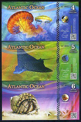 SET Atlantic Ocean 4;5;6 Ocean Dollars 2017 - 3 Note Marine Life Set