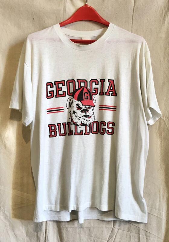 Vintage GEORGIA BULLDOGS Mascot Split Bar T Shirt 50/50 Thin XL