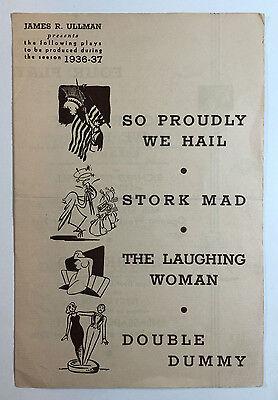 Vintage Theatre Brochure James R Ullman Four New Plays For Season 1936 - 37