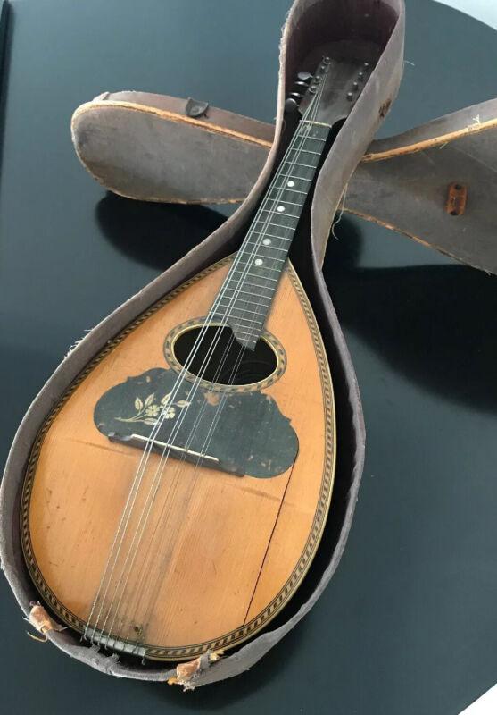 "VINTAGE ANTIQUE Eugene Howard Bowlback Mandolin w/Case 24"""