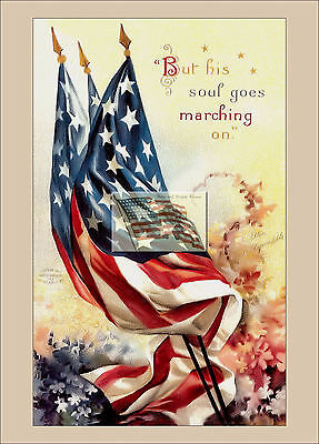 REPRINT PICTURE old postcard 4TH OF JULY HIS SOUL GOES MARCHING ON usa flags 5x7