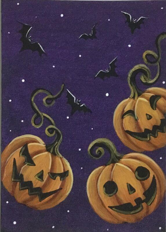 ACEO Original Halloween Acrylic Sketch Card Jack-o