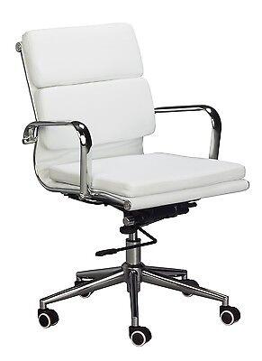 Eames Replica Mid Back Office Chair - White Vegan Leather High Density Foam