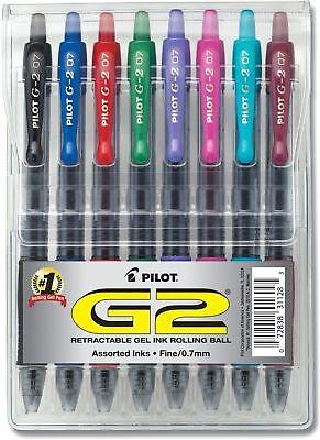 Pilot G2 Premium Gel Roller Ink Pen Retractable Assorted Inks 0.7mm Fine 8 Pack