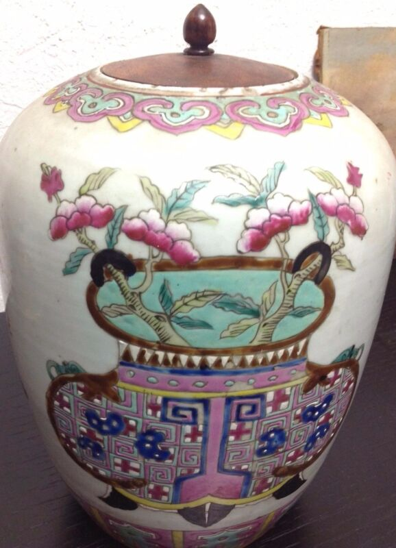 SALE & FREE SHIPPING! Antique Chinese Famille Rose Ginger Pot with Wood Lid