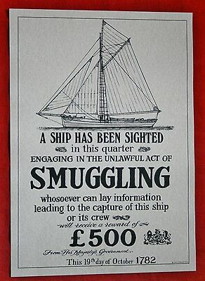 "Reproduction Antique 18th Century ""SMUGGLING"" Poster Nautical/Maritime Theme"
