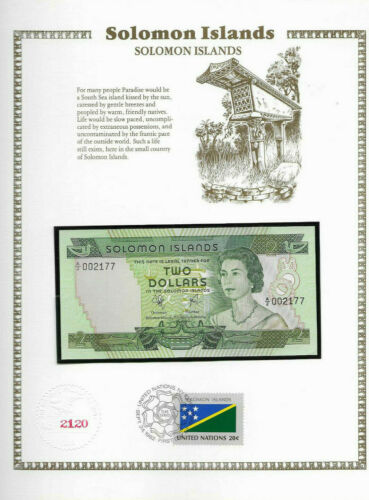 Solomon Islands Banknote 1977 $2  UNC P 5 UN FDI FLAG STAMP A/2 Low 002177