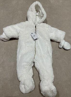 tartine et chocolat Baby Snow Suit Designer 3m Reversable Faux Fur White RRP£250