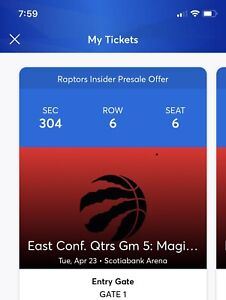 Raptors 2 playoff tickets- Sec.304, Row 6