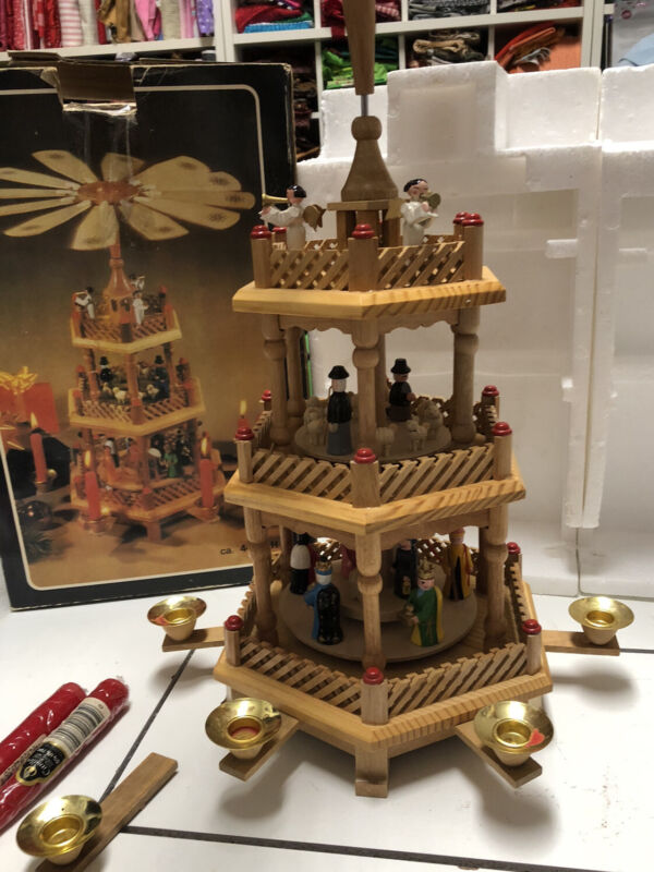 Vintage Christmas Nativity Pyramid Wooden 3 Tier Carousel Windmill Candle