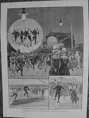 Wiener Eislauf-Verein WEV Kostümfest Wettlauf Original HOLZSTICH von 1889