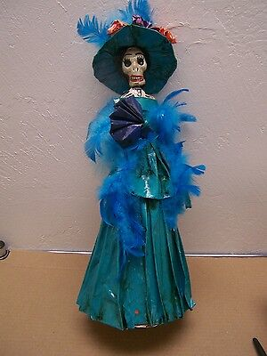 Day of the Dead Papier Mache Catrina in Feathered Blue Dress - Mexico (Catrina Dress)