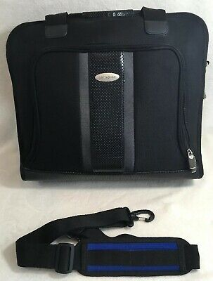 Samsonite Model 74405 Black Nylon Memory Foam Padded Laptop Bag Case W Strap EUC