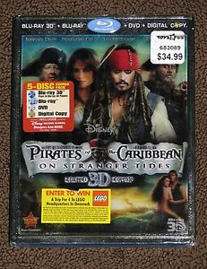 NEW Disney Pirates of the Caribbean on Stranger tides Blu-Ray 3D - 5 Disc Set