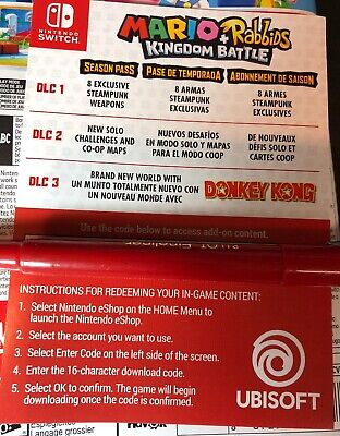 Mario + Rabbids Kingdom Battle Season Pass Card [ NO Game ] NEW - Mario Cards