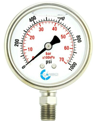 "2-1/2"" Pressure Gauge, ALL STAINLESS STEEL, Liquid Filled, Lower Mnt, 1000 Psi"