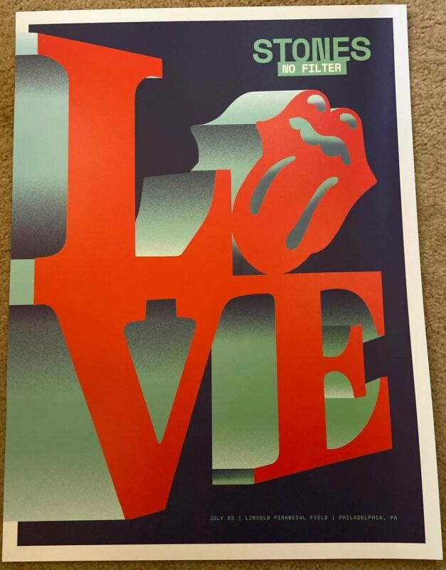 Rolling Stones Philadelphia PA Poster Lithograph LOVE Print No Filter Tour