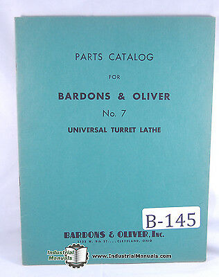 Bardons Oliver No. 7 Turret Lathe Parts Manual