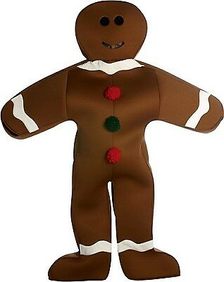 Mr. Gingerbread Man Brown Cookie Mascot Christmas Holiday Dress Up Adult Costume](Gingerbread Man Costume Adult)