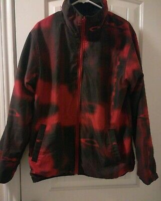 Oakley Black and Red Reversible Jacket Men's Size Small #96548 Graphic (Black And Red Oakleys)