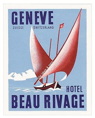 Hotel Beau Rivage GENEVE Switzerland luggage label Kofferaufkleber  x0065